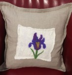 Felted Iris and Natural Linen Pillow Cover