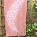 hibori Linen Shawl dyed with Madder Root