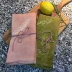 Plant Dyed Linen Tea Towels Madder and Onion