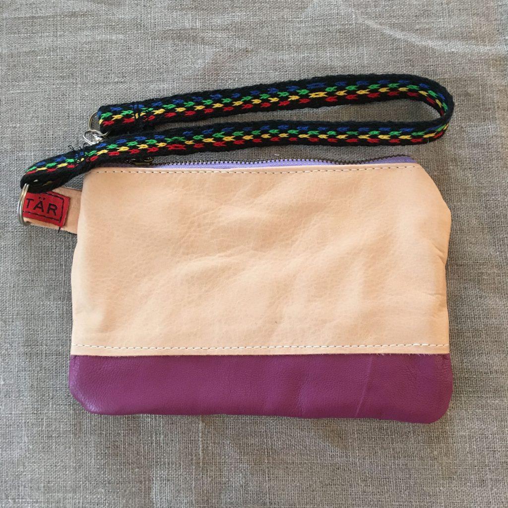 Purple / Tan Sami Reindeer Leather Clutch Purse