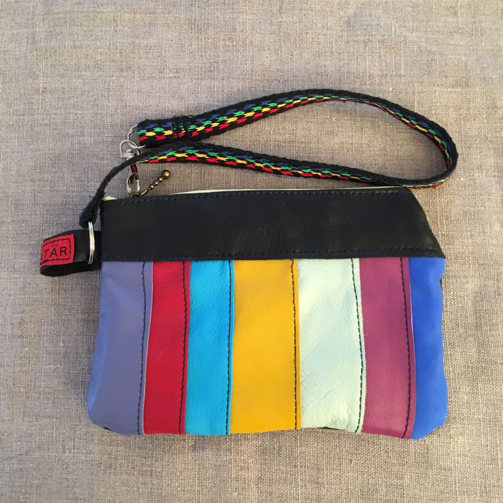 Rainbow / Black Sami Reindeer Leather Clutch Purse
