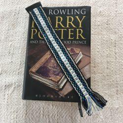 Handwoven Cotton Bookmark Blue Black
