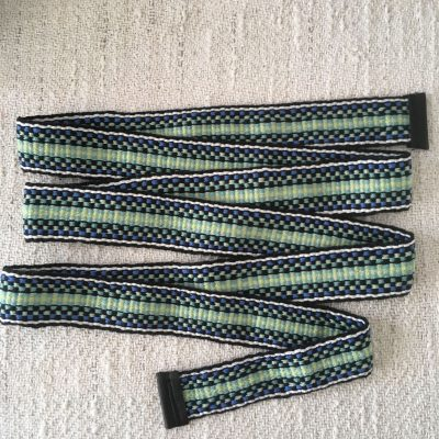 Handwoven Cotton Sash Green Black