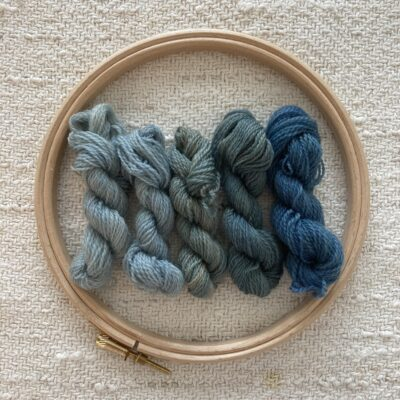 BLUES- Plant Dyed Crewel Wool