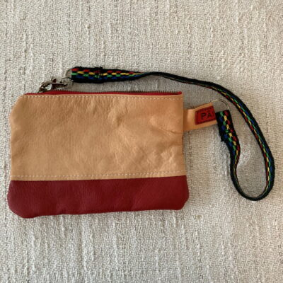Red- Reindeer Leather Clutch Purse